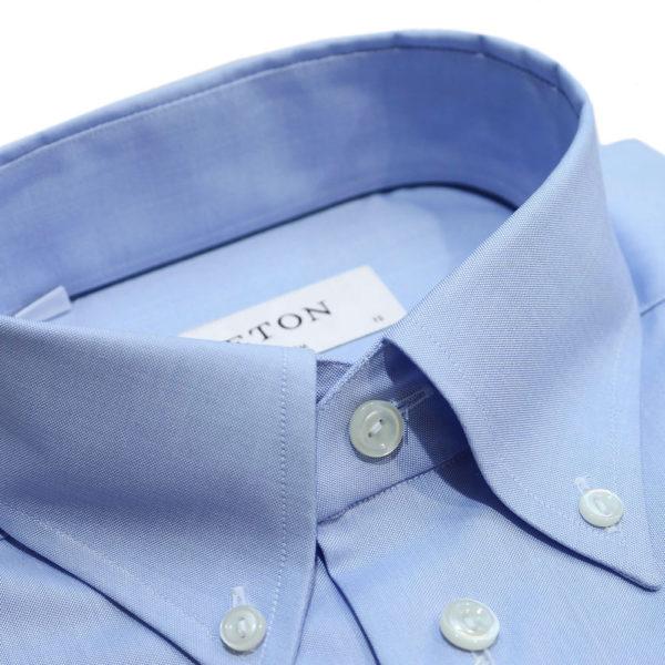 Eton shirt button down collar blue1