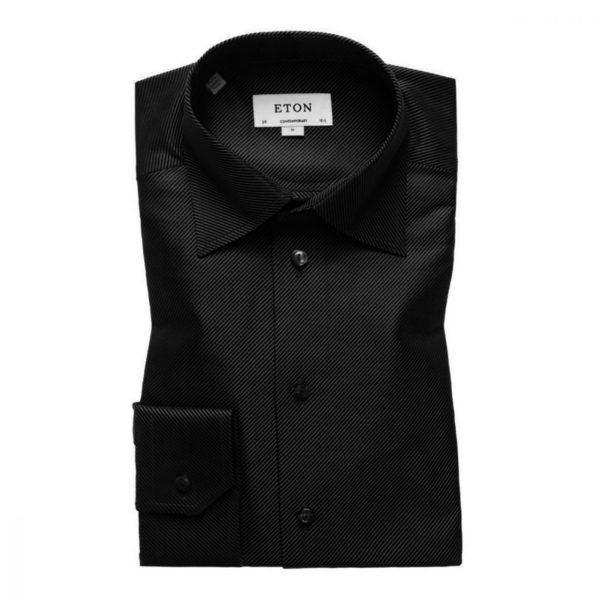 Eton shirt diagonal textured twill black