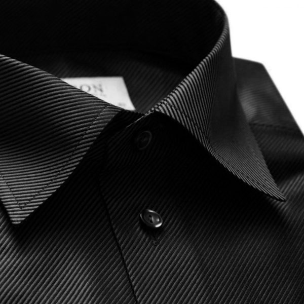 Eton shirt diagonal textured twill black collar