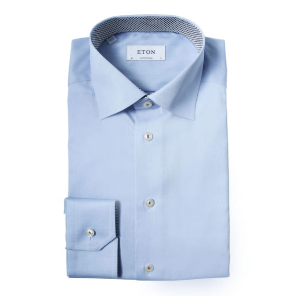 Eton shirt geometric twill fabric light blue1