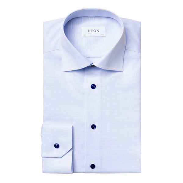 Eton shirt light blue and white twill contrast button