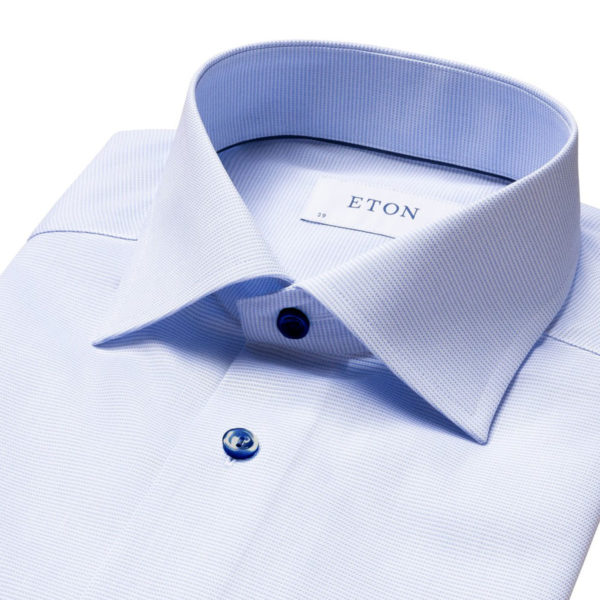 Eton shirt light blue and white twill contrast button collar