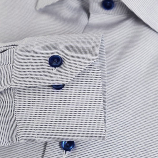 Eton shirt micro stripe navy buttons sleeve