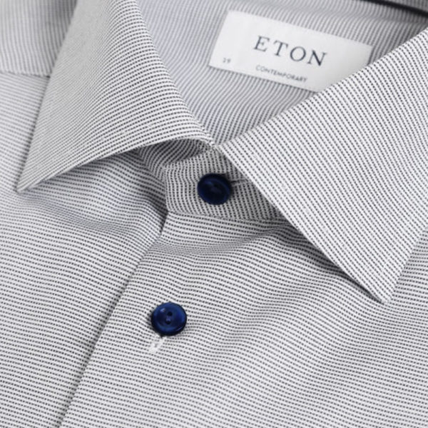Eton shirt micro stripe navy collar