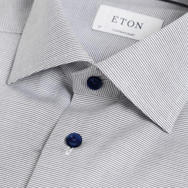 Eton shirt micro stripe navy collar