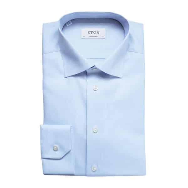 Eton shirt textured twill blue