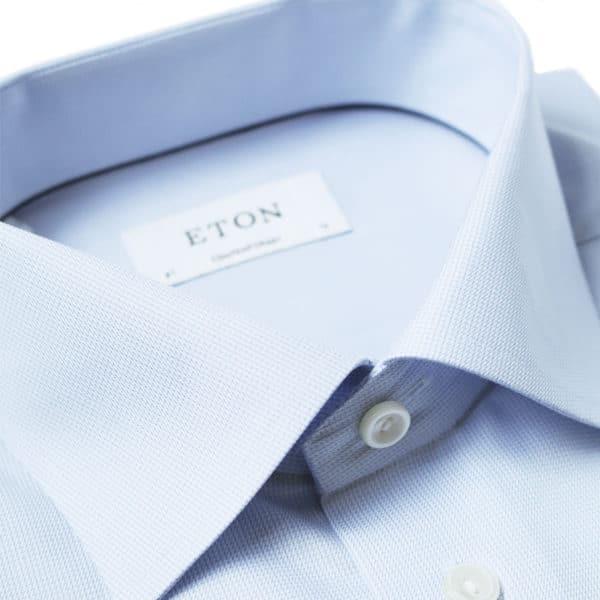 Eton shirt textured twill blue collar