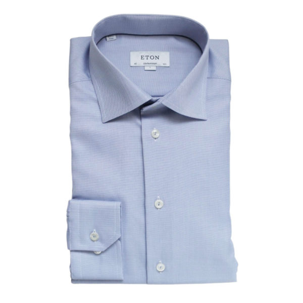 Eton shirt textured twill blue contemporary