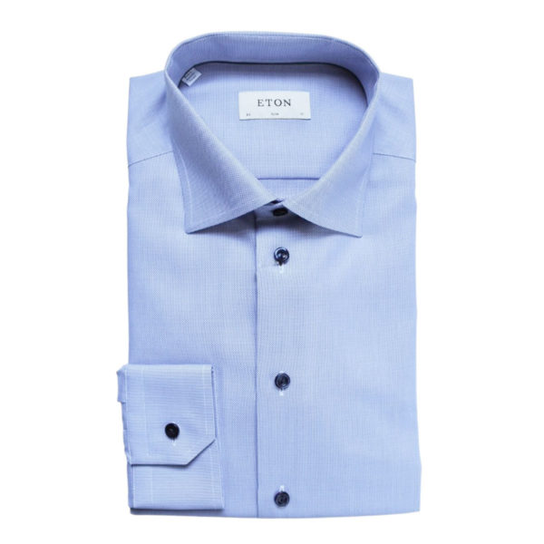 Eton shirt textured twill blue contrast button