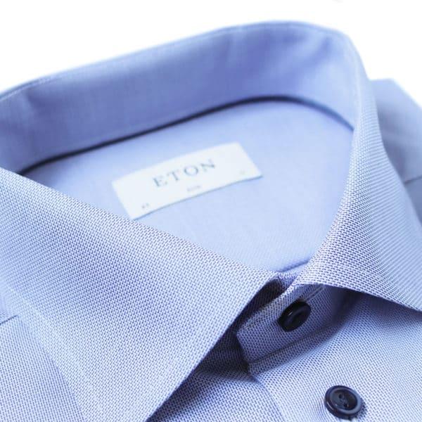Eton shirt textured twill blue contrast shirt