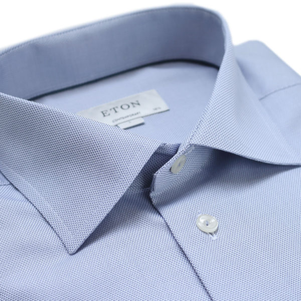 Eton shirt textured twill blue shirt