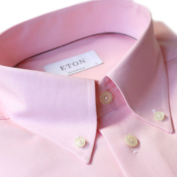 Eton shirt twill button down collar pink