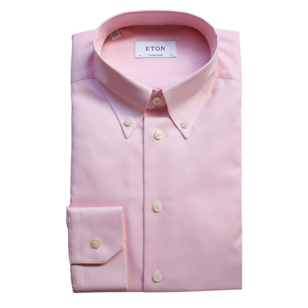 Eton shirt twill button down collar pink1