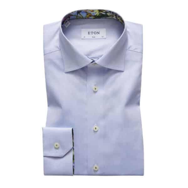 Eton shirt twill flower insert blue