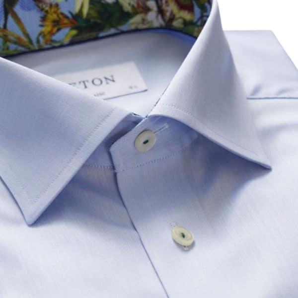 Eton shirt twill flower insert blue collar
