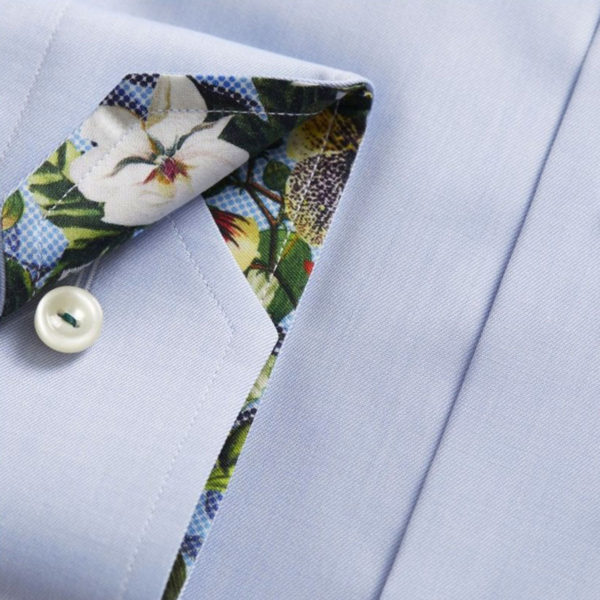 Eton shirt twill flower insert blue sleeve