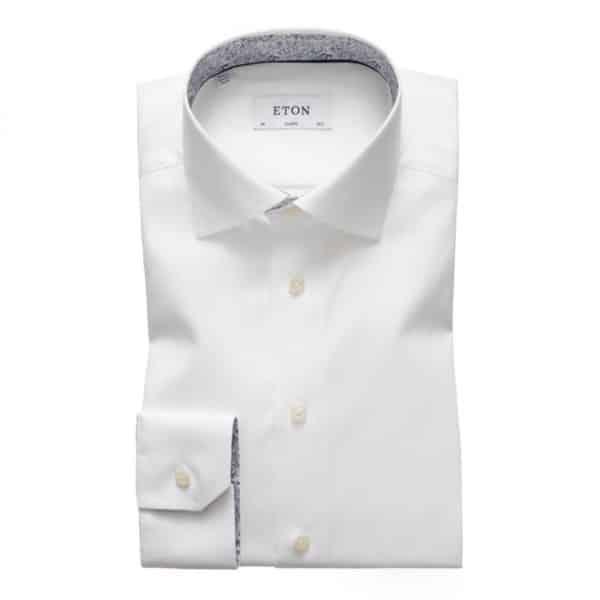 Eton shirt white contrast paisley collar