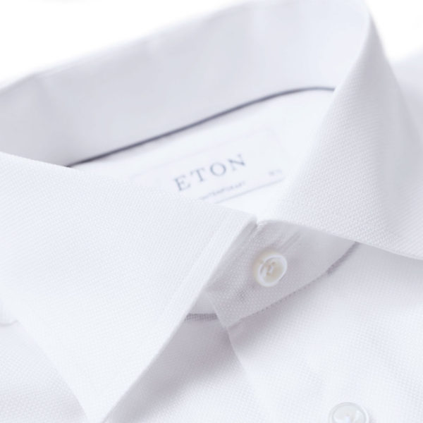 Eton shit textured white collar