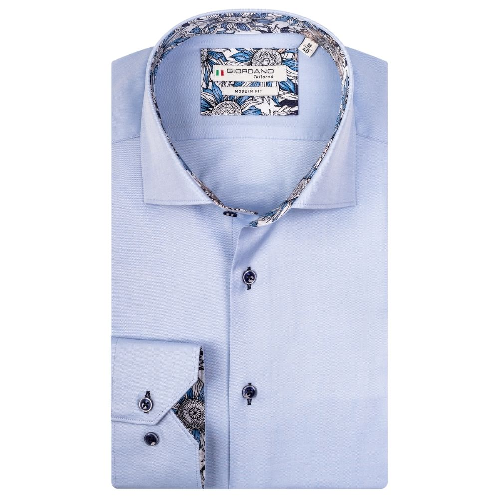 Giordano flower trim shirt blue
