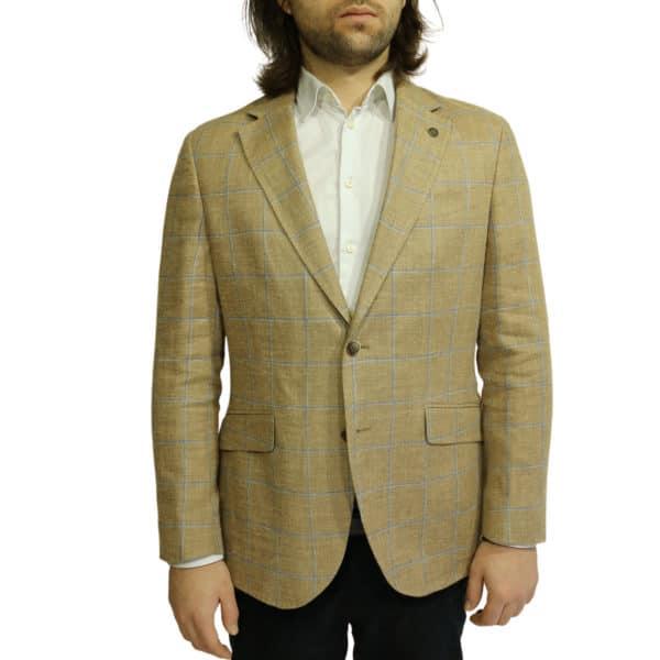 Hackett check blazer jacket sand1 1