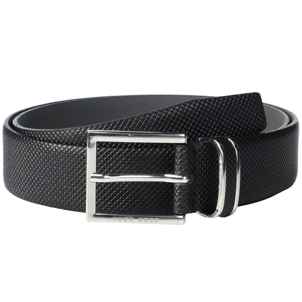 Hugo Boss Canzion Black Leather textured Belt