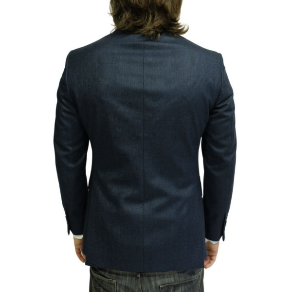 Luigi Bianchi Manotna Jacket small check navy back