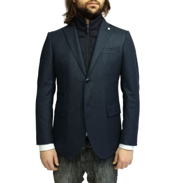 Luigi Bianchi Manotna Jacket small check navy insert