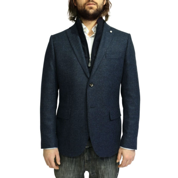 Luigi Bianchi Manotna navy self check Jacket insert open