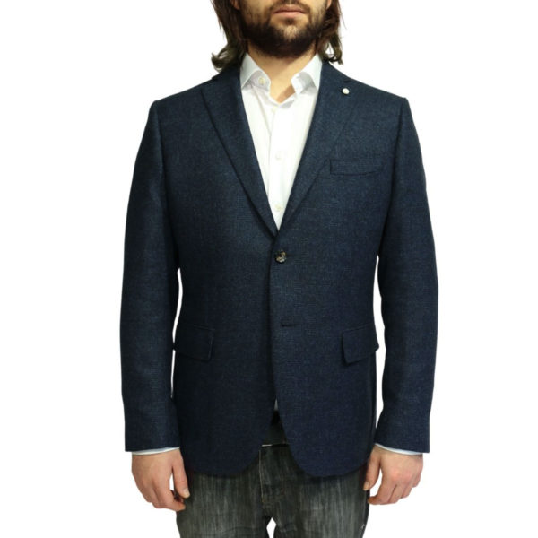 Luigi Bianchi Manotna navy self check Jacket without insert
