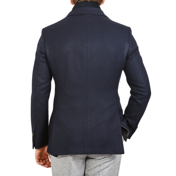 Luigi Bianchi Mantova Navy Structured Wool Alcantara Lined Blazer Back