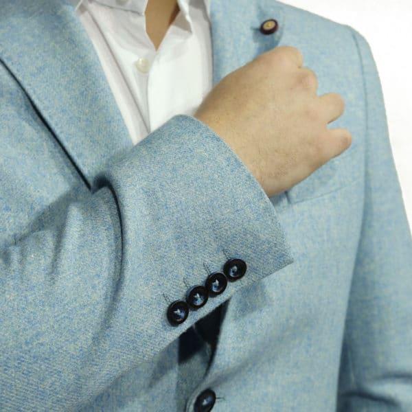 Maxim B blazer wool mix light blue cuff buttons