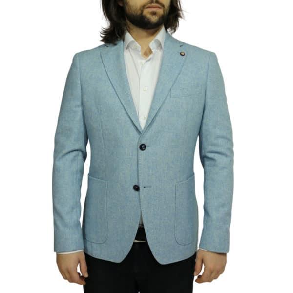Maxim B blazer wool mix light blue front