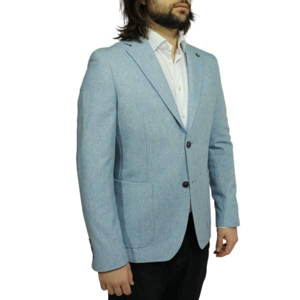 Maxim B blazer wool mix light blue side