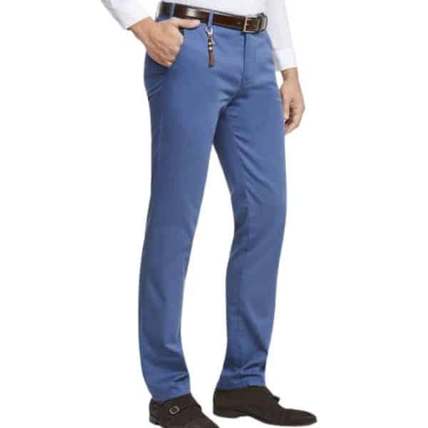 Meyer Bonn Blue Cotton Chinos