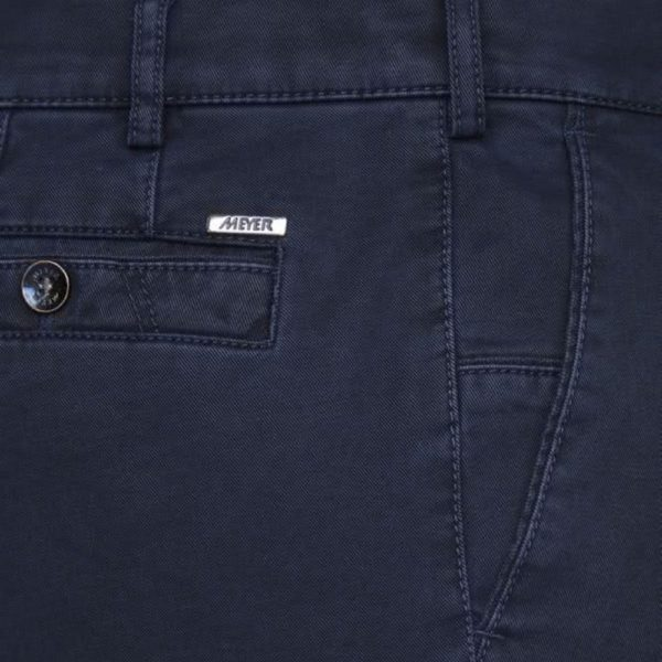 Meyer New York Navy Cotton Chinos side detail