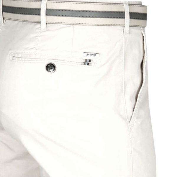 Meyer Rio White Cotton Chinos back 1