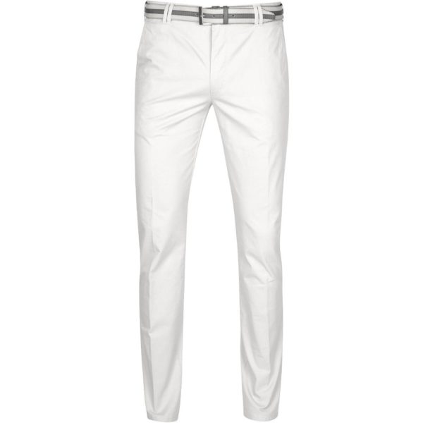 Meyer Rio White Cotton Chinos front