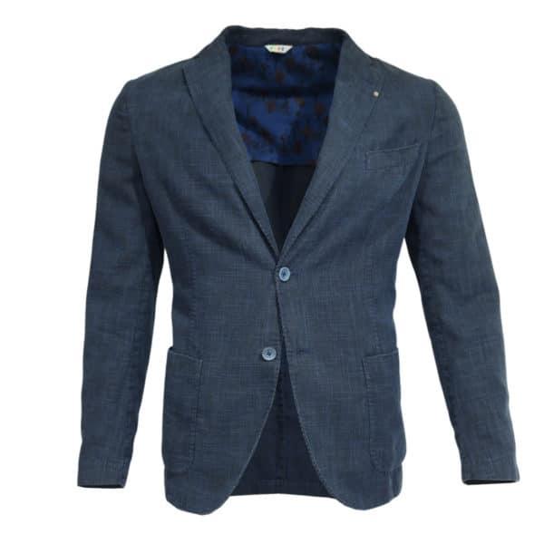 Navy blazer manuel ritz slub jacket front