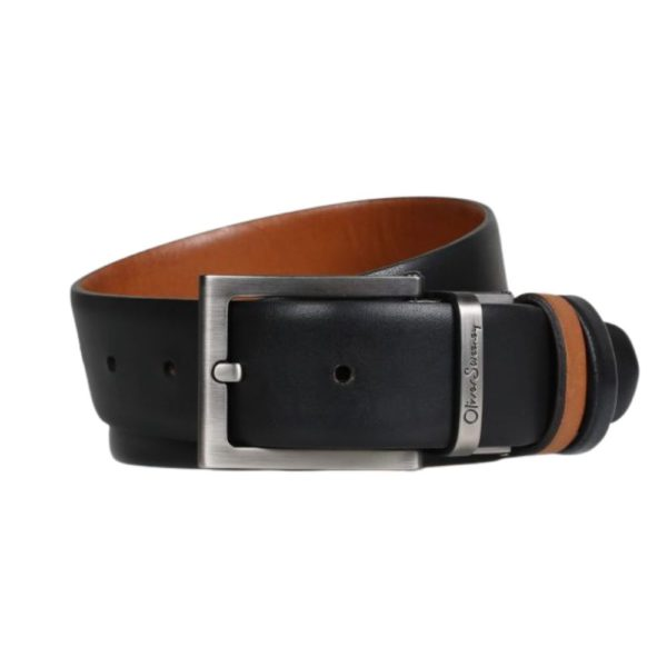 OLIVER SWEENEY MALMSEY BLACK DARK TAN BELT