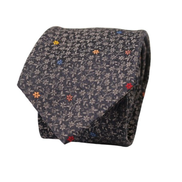 Paul Smith Tie Flower Embroidery Charcoal Silver 1