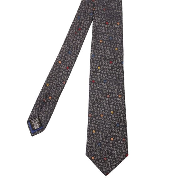 Paul Smith Tie Flower Embroidery Charcoal Silver 2