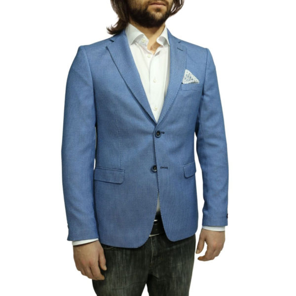 Roy Robson small check blue blazer