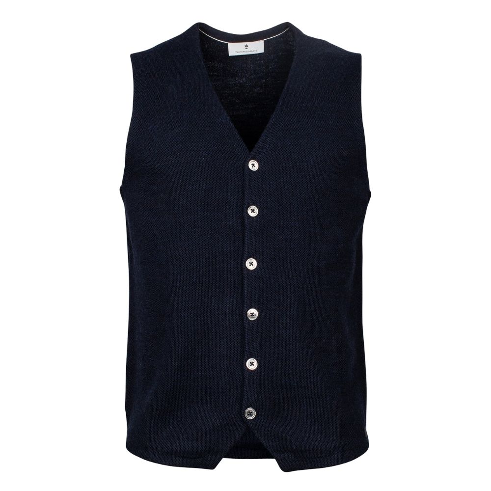 THOMAS MAINE KNITTED VEST NAVY