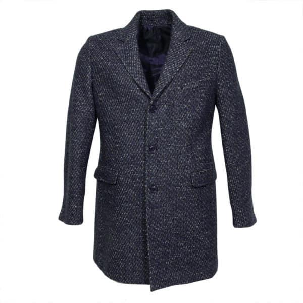 Thomas Maine Overcoat Tweed fleck navy wine white