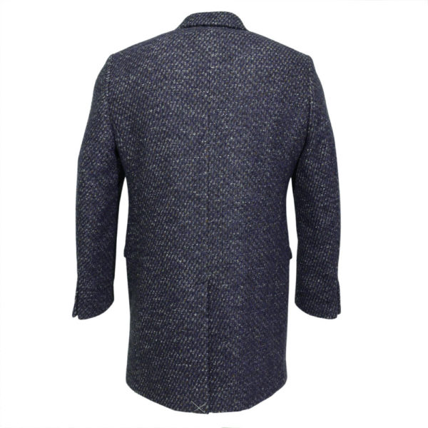 Thomas Maine Overcoat Tweed fleck navy wine white back
