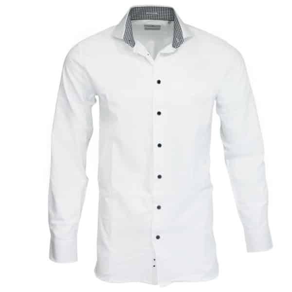Thomas Maine white shirt check collar