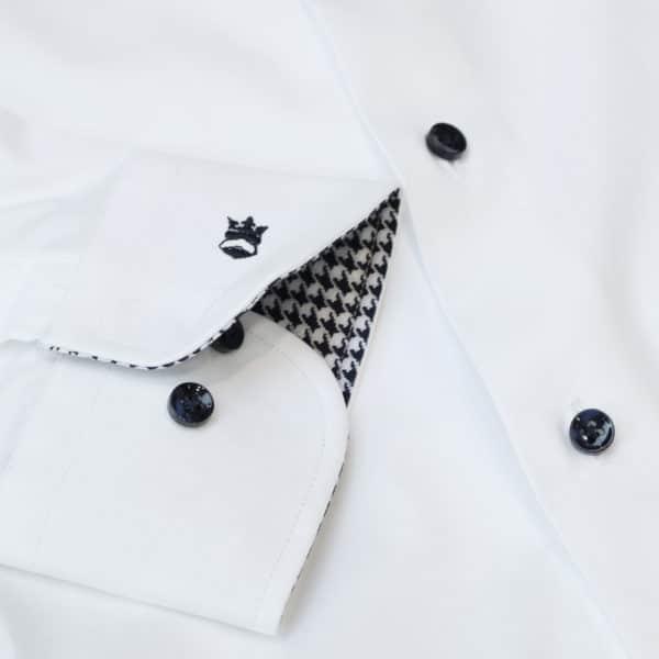 Thomas Maine white shirt check collar cuff detail