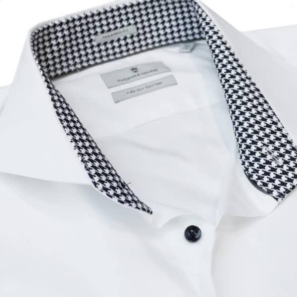 Thomas Maine white shirt check collar detail1