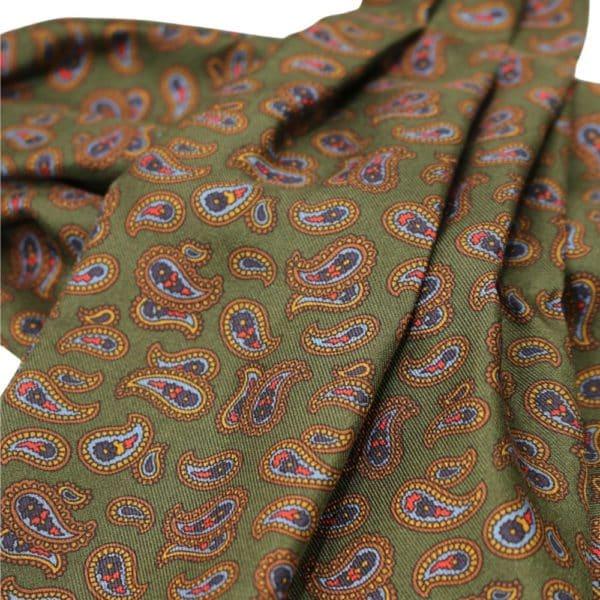 Van Buck Cravat Paisley Olive Green 3