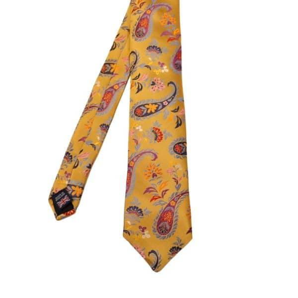 Van Buck Paisley Flower Tie Yellow 1